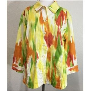 Chicos Orange Green Jacket XL